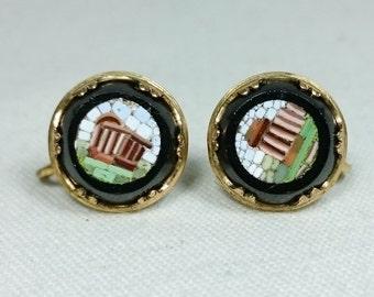 Tiny Antique Roman Ruins Micro Mosaic Screw-Back Earrings, Italy Grand Tour Souvenir Jewelry