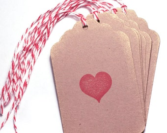 Red heart Tag Set 6 Blank gift present tag love valentines wedding bridal shower
