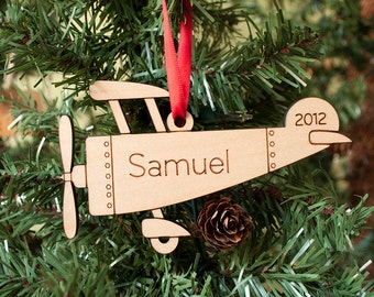 Kids Christmas Ornament Wood Airplane Personalized Name 2018 Baby's First Christmas