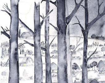 Wintry Trees Gardenscape