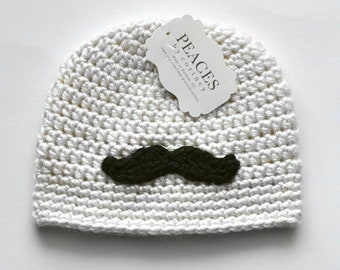 Newborn Mustache Baby Hat - Off White Baby Hat