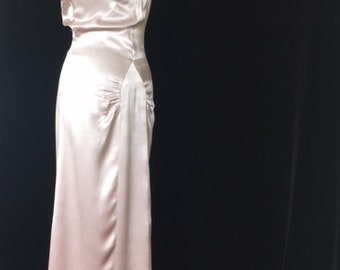 Vintage pink silk 1930s evening gown with peep hole and scarf