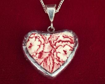 Broken China Heart Pendant  -- #30,047