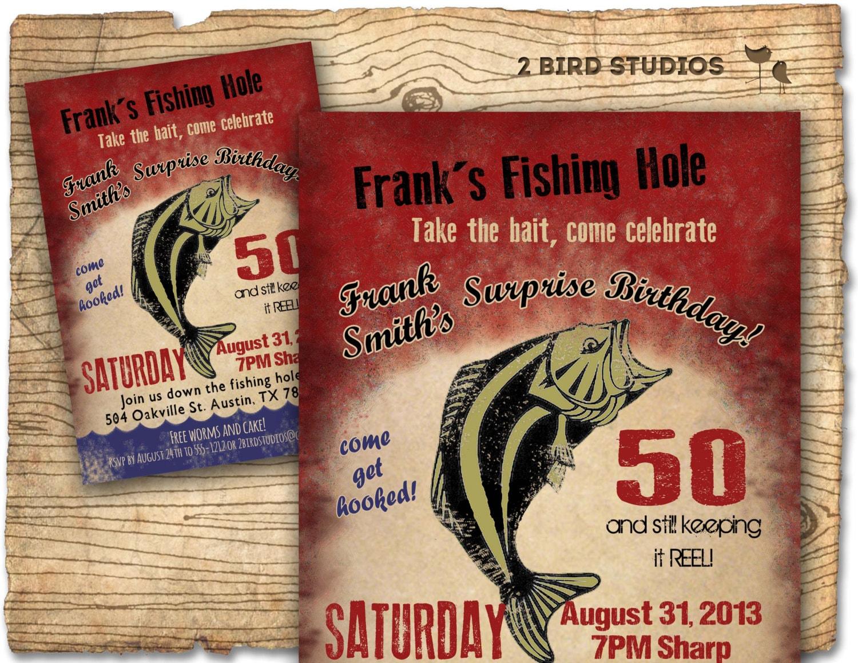 Fishing Birthday Party Invitation invite 30th