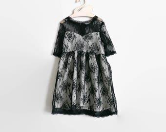 Black Lace Dress, girl christmas dress, girl dress, toddler dress, toddler dress, new year dress, formal black dress, Valentine dress