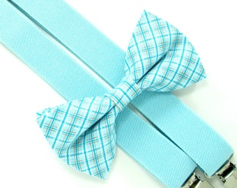 Easter Bow Tie and Suspenders-Light blue plaid bow tie and suspender set for Baby,Toddler and Boys