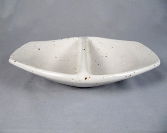 Vintage studio pottery, modernist divided bowl