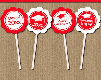 Red and White Graduation Cupcake Toppers, Graduation Party Decorations, Class of 2018 Graduation Printable, High School Graduation Topper G1