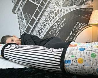 Fun Paris Body Pillow Cover with Pockets for Hands & Feet