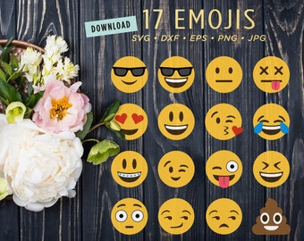 17 Emoji SVG Files | Emoji Clipart Digital Bundle | Poop Emoji |  Emoticon Smiley Face Files for Cricut Silhouette Dxf • Png • Eps • Jpg