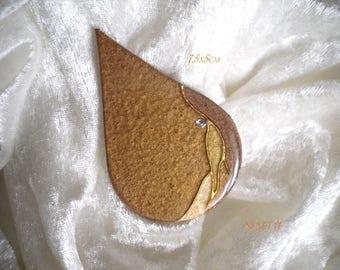 large cabochon drop Brown harmony, unique, handmade