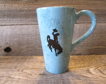 Turquoise Tall Coffee Mug with Wyoming Cowboys Bucking Horse, Ready to Ship