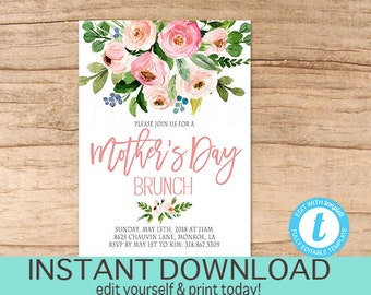 Mother's Day Brunch Invitation, EDITABLE Church Brunch Invite, Mothers Day, elegant Pink Floral PRINTABLE, templett, Instant Download