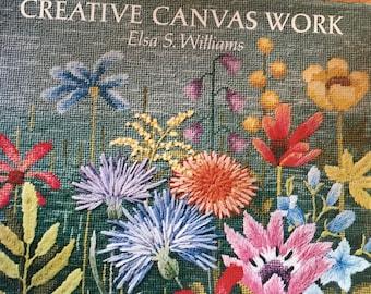1980s  Creative Canvas work  crewel embroidery Erica wilson hardcover book