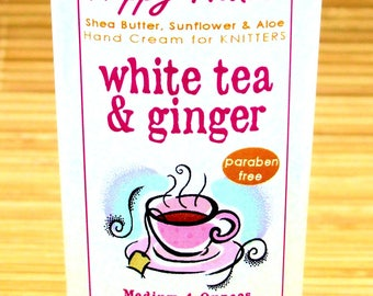 Scented Shea Butter Hand Lotion - White Tea and Ginger Spa Type Fragrance - Hand Cream for Knitters Happy Hands Knitting