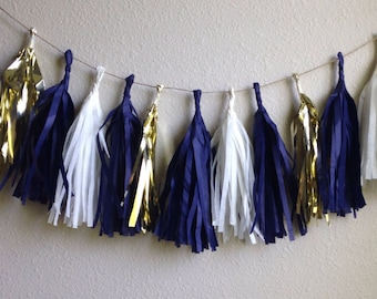 Navy and Gold tassel garland Tassle Garland/ -Tissue Paper garland- OR ANY COLOR you choose