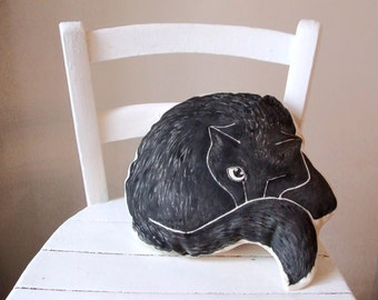 black cat pillow decorative cushion cat drawing shape gift idea witch gotich for kids handpainted cotton fabirc
