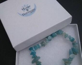 Amazonite elasticated gemstone bracelet with Tree of Life charm.