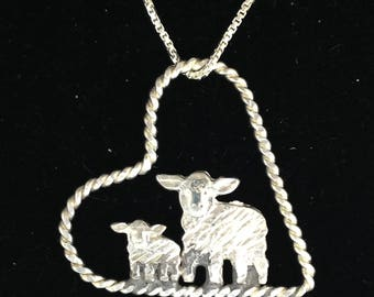 Sheep and Lamb in Floating Heart Necklace Pendant in Sterling Silver on an 18 inch Sterling Chain 4H FFA Show Sheep Lambs Livestock Jewelry
