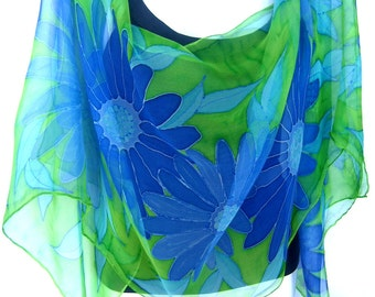 Hand Painted Silk Scarf, Medium Blue, Aqua, Lime Green, Daisies, Floral Chiffon Silk Scarf, Gift For Her, Genuine Handmade