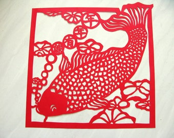 Tranditional Hand made Chinese paper art - Fish: Be surpluses every year