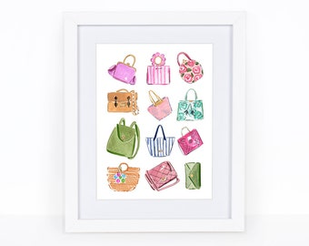 Handbags Illustration - Handbags Printable - Glamour Printable  - Fashion printable  - Handbags Clip Art - Handbags Print - Fashion Print