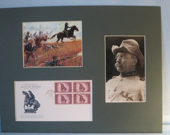 Rough Rider Teddy Roosevelt charges up San Juan Hill & First Day Cover of the Rough Riders stamp