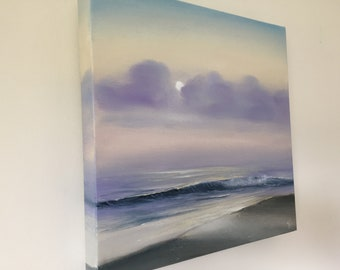Original Sunrise over the Ocean Painting, Oil on Canvas Seascape, Florida Beach Art, Morning Tide