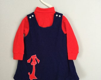 Vintage 60s 70s Shirt and Dog Applique Dress 18 - 24 months