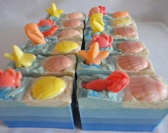 Sale!!!!   Sale!!!!   SEASHELL At The SEASHORE Soap / Sea Soap / Cold Process Soap / Vegan Soap Bar  Was 7.00    Now