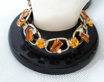 Five Link Bracelet, Amber Keyhole Stones, prob. Juliana DeLizza & Elster 1960-1970.