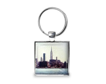 New York Skyline - Glass Photo Keychain - Handmade