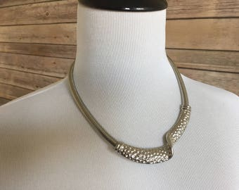 Silver Toned Necklace - Collar Necklace - Hammered Choker - Vintage Silver Necklace - Omega Chain