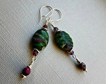 Carved ruby zoisite earrings with ruby fusionite beads//ruby zoisite earrings//green and purple stone earrings
