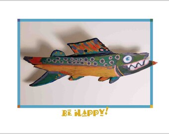 FUNKY FISH Art Print - Whimsical Fish Conversation Starter Colorful Kids Bedroom, boys room, Lake House Wall Decor