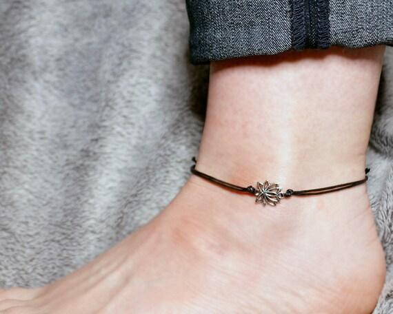 sterling silver lotus anklet silver lotus ankle bracelet w1keI7