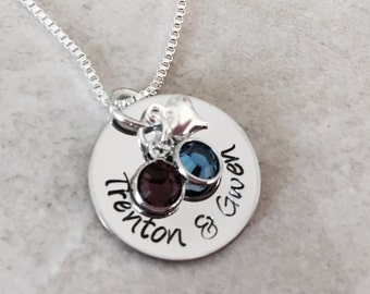 SALE Hand stamped personalized necklace mom grandma with Swarovski crystals and heart charm gift for mom gift for grandma mothers day gift