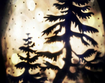 """Surreal Woodland Photo """"Group of Two"""" Collage Photo - Winter Woodland - Dreamy Forest - Fine Art Photography - Animal Silhouette"""