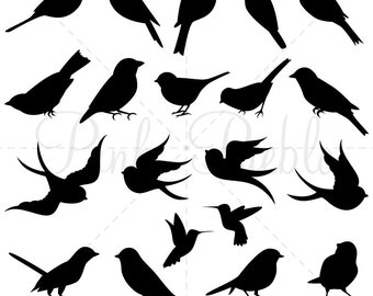 Bird Silhouettes Clip Art Clipart, Bird Clip Art Clipart - Commercial and Personal