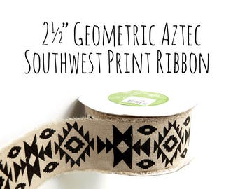 "2.5"" Geometric, Southwest, Aztec Print Canvas Ribbon, Black and Off White, Packaging Supply, Bows, Gift Wrap, Wedding Supplies, Craft Supply"