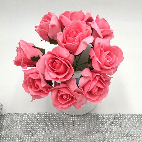 Foam Wedding Flowers Uk: Hot Pink Wedding Flowers Artificial Foam Rose Bouquet 100