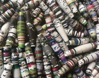 20 upcycled 1 inch paper beads bulk beads colorful beads upcycled magazine beads assorted
