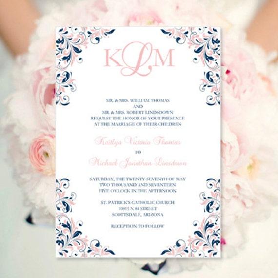 Blush Pink & Navy Wedding Invitation Kaitlyn