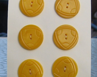 "Yellow Plastic / Bakelite Buttons  - Set of 6 - Size: 1-1/8"" - Vintage Buttons!!"