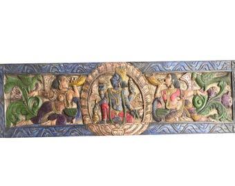 Zen Altar Vintage Hand Carved Headboard Vishnu hindu god the preserver, Meditation,  Yoga , Puja ROOM, Wall Hanging Zen Decor FREE SHIP
