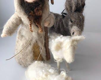 Needle Felted Nativity Set Shepard and sheep/Needle Felted Shepard and sheep set/Nativity Shepard/Nativity Scene/Nativity Shepard 2 sheep