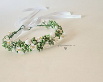 Wedding succulent crown headband Bridal headwreath with succulents Green white bridal halo floral tiara Wedding floral headband Headwreath