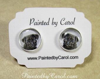 Black Pug Earrings, Black Pug Jewelry, Black Pug Gifts, Black Pug Mom Gifts, Gifts for Black Pug Mom, Black Pug Studs, Pug Lever Backs