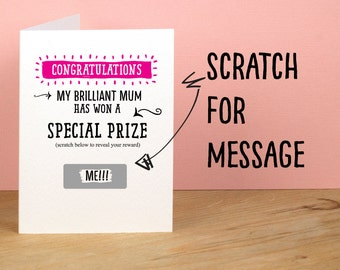 Special Prize Mother's Day Card Funny Mothers Day Card Naughty Mum Card I Love You Funny Greetings Card Mother's Day Card Surprise Gift Card