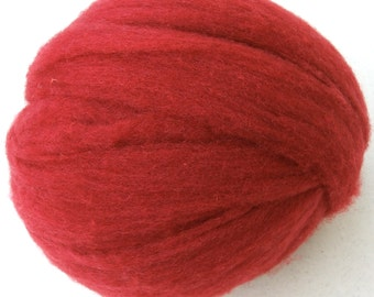 Polypay Wool Roving for Spinning -- Fire Red